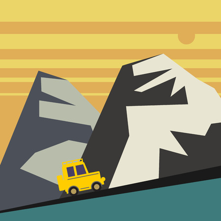 snow tire: Off-road vehicle and mountains landscape Illustration
