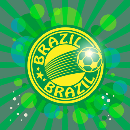 Label with word Brazil, football theme Vector