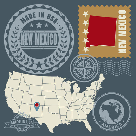 Abstract post stamps set with name and map of New Mexico, USA Vector