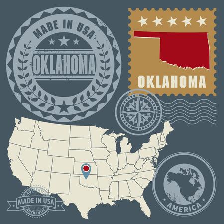 oklahoma: Abstract post stamps set with name and map of Oklahoma, USA