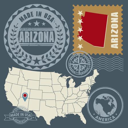 arizona: Abstract post stamps set with name and map of Arizona, USA Illustration