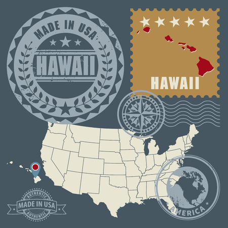 hawaii flag: Abstract post stamps set with name and map of Hawaii, USA Illustration