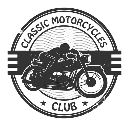 Weinlese-Motorrad-Label Illustration