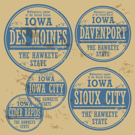 davenport: Grunge rubber stamp set with names of Iowa cities