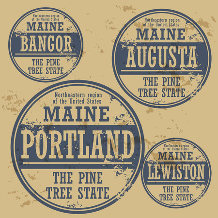 Grunge rubber stamp set with names of Maine cities Vector