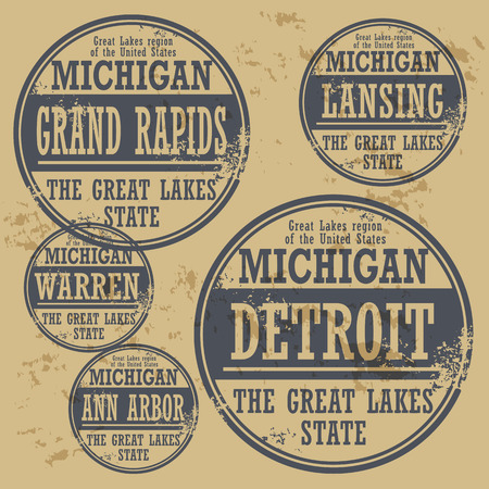 Grunge rubber stamp set with names of Michigan cities Vector