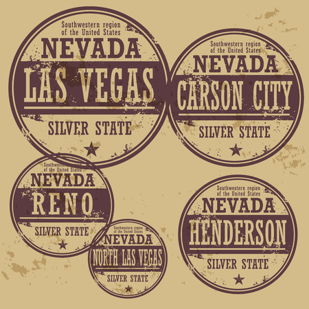 las vegas city: Grunge rubber stamp set with names of Nevada cities
