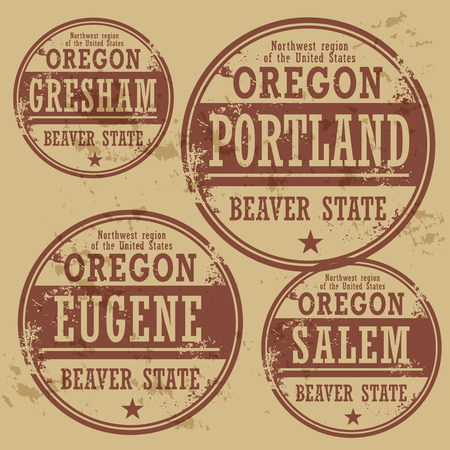 portland: Grunge rubber stamp set with names of Oregon cities