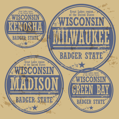 milwaukee: Grunge rubber stamp set with names of Wisconsin cities