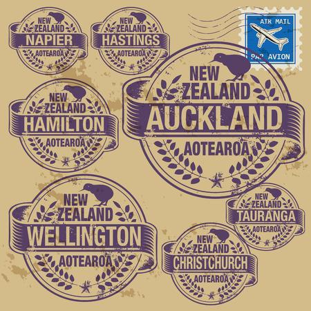 Grunge rubberen stempel set met namen van Nieuw-Zeeland steden Stock Illustratie