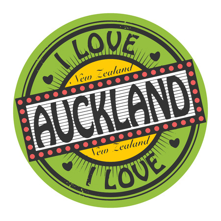 Grunge color stamp with text I Love Auckland inside Vector