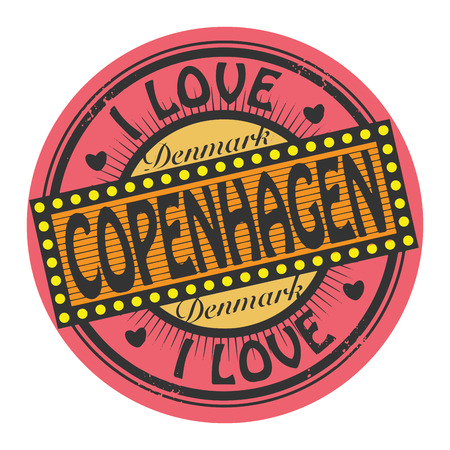 Grunge color stamp with text I Love Copenhagen inside Vector