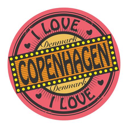 Grunge color stamp with text I Love Copenhagen inside Vector