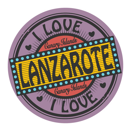 i label: Grunge color stamp or label with text I Love Lanzarote inside