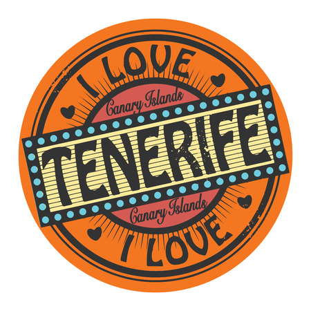 Grunge color stamp or label with text I Love Tenerife inside Vector