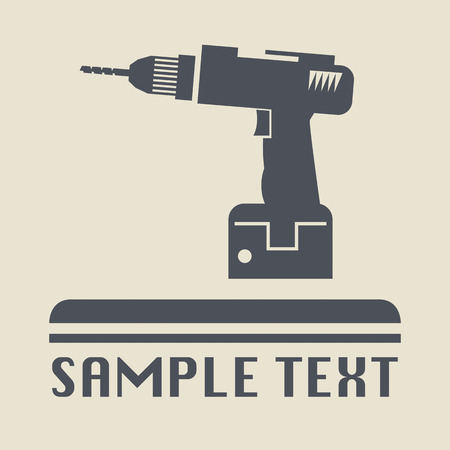 power tools: Drill icon or sign Illustration