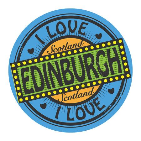 edinburgh: Grunge kleur stempel of etiket met de tekst I Love Edinburgh binnen Stock Illustratie