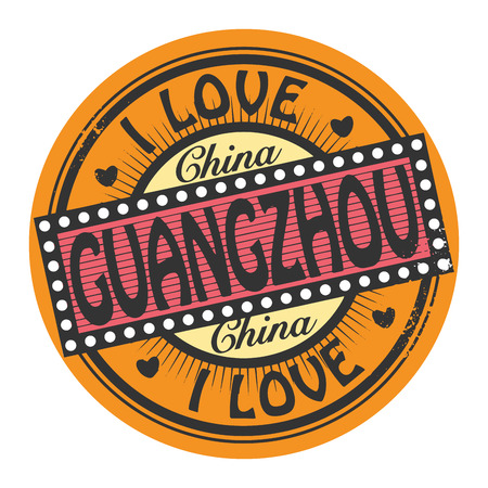 Grunge color stamp with text I Love Guangzhou inside Vector