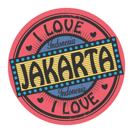 Grunge color stamp with text I Love Jakarta inside Vector