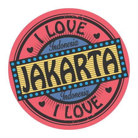jakarta: Grunge color stamp with text I Love Jakarta inside