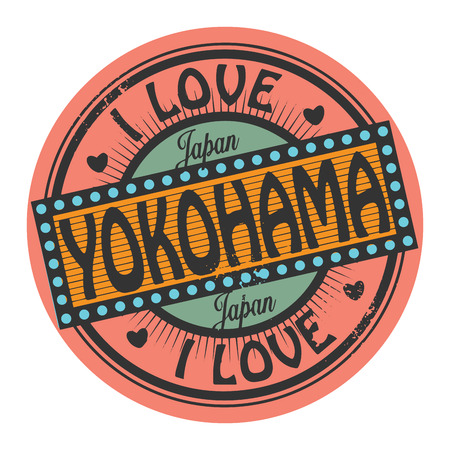 Grunge color stamp or label with text I Love Yokohama inside Vector