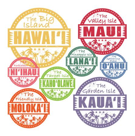 hawaiana: Sellos de caucho de grunge con palmeras y de las islas de Hawai dentro de los nombres