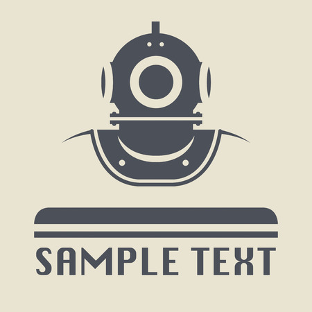 Old diving helmet icon or sign Vector