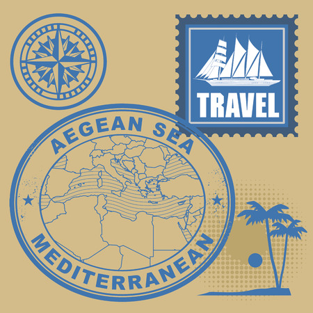 Grunge rubber stamp set with text Mediterranean, Aegean Sea Vector