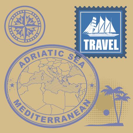 Grunge rubber stamp set with text Mediterranean, Adriatic Sea Vector