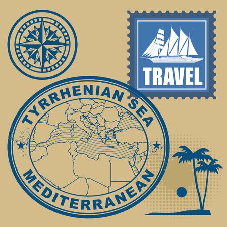 Grunge rubber stamp set with text Mediterranean, Tyrrhenian Sea Vector