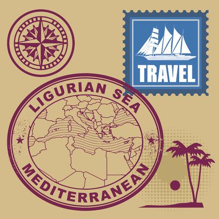 Grunge rubber stamp set with text Mediterranean, Ligurian Sea Vector