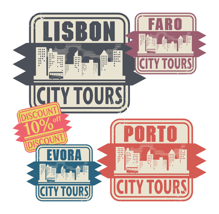 Grunge rubber stamp set with names of Portugal cities Vector