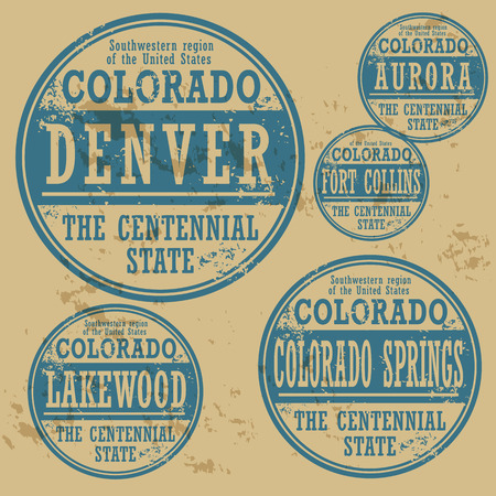 Grunge rubber stamp set with names of Colorado cities Vector