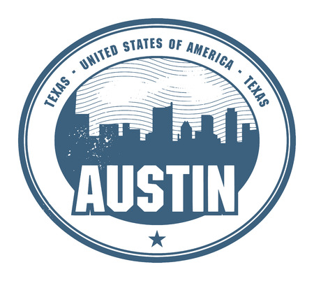 austin: Grunge rubber stamp with name of Texas, Austin