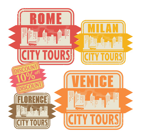 florence   italy: Grunge rubber stamp set with names of Italy cities