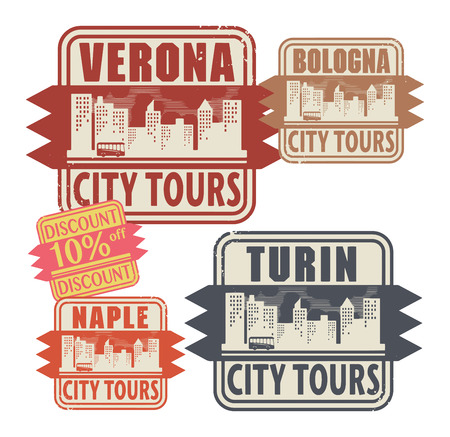 turin: Grunge rubber stamp set with names of Italy cities