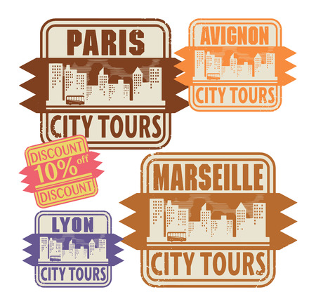 Grunge rubber stamp set with names of France cities Vector