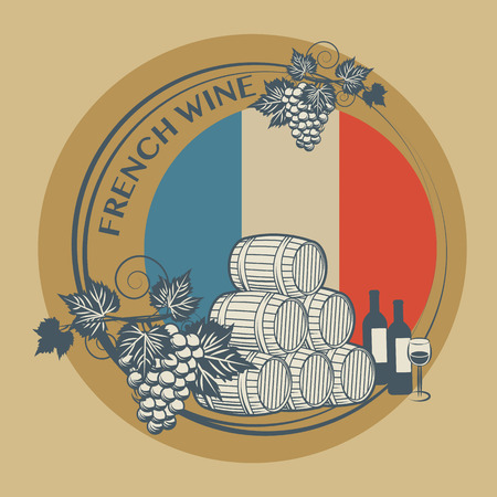 Stamp or label with words French Wine Vector