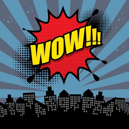 wow: Explosión del cómic abstracto Vectores