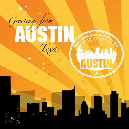 austin: Vintage postcard with name of Texas, Austin