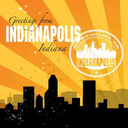 Vintage postcard with name of Indiana, Indianapolis Vector