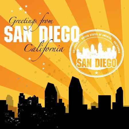 san diego: Vintage postcard with name of California, San Diego