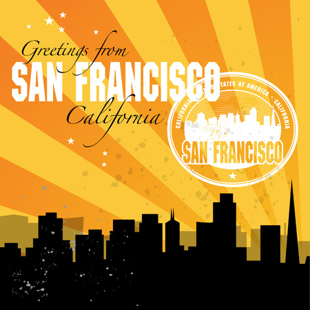 Vintage postcard stamp with name of California, San Francisco Vector