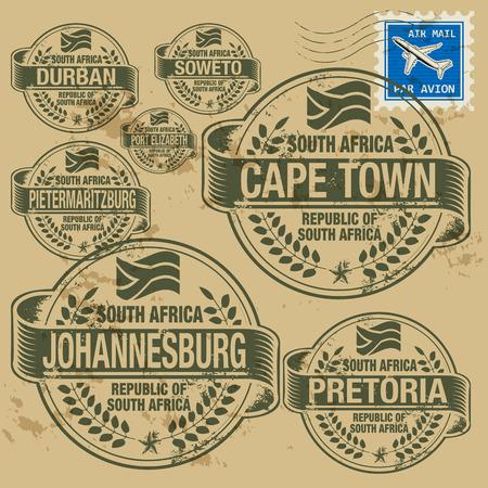 mapa de africa: Grunge sello de goma fijó con nombres de ciudades de África del Sur