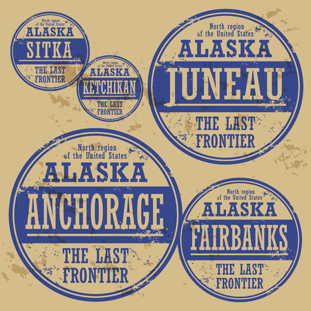 Grunge rubber stamp set with names of Alaska cities Vector