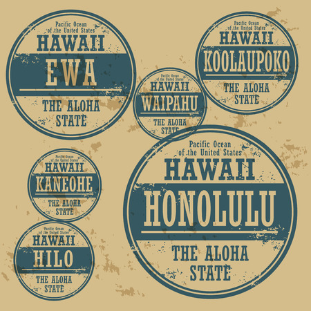 Grunge rubber stamp set with names of Hawaii cities Vector