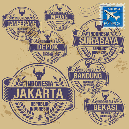 Grunge rubber stamp set with names of Indonesia cities Vector