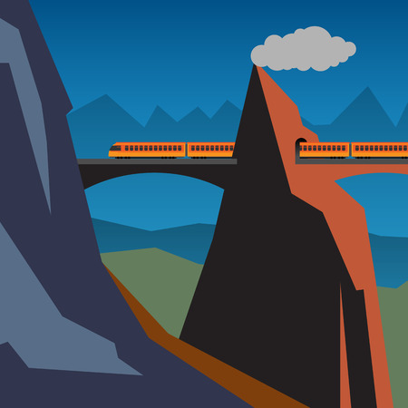 Mountain train adventure background Vector