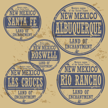 Grunge rubber stamp set with names of New Mexico cities