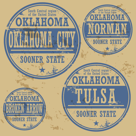 oklahoma: Grunge rubber stamp set with names of Oklahoma cities